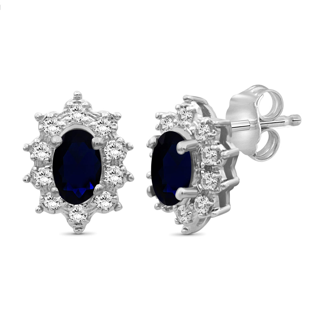 0.70 ctw Genuine Sapphire & White Topaz Gemstone Sterling Silver Stud Earrings