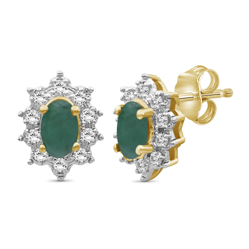 0.65 ctw Genuine Emerald & White Topaz Gemstone 14K Gold Over Silver Stud Earrings