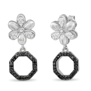 1/7 Carat T.W. Black And White Diamond Sterling Silver Flower Octagon Earrings - Assorted Colors