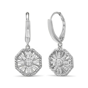 1/7 Carat T.W. White Diamond Sterling Silver Octagon Earrings - Assorted Colors