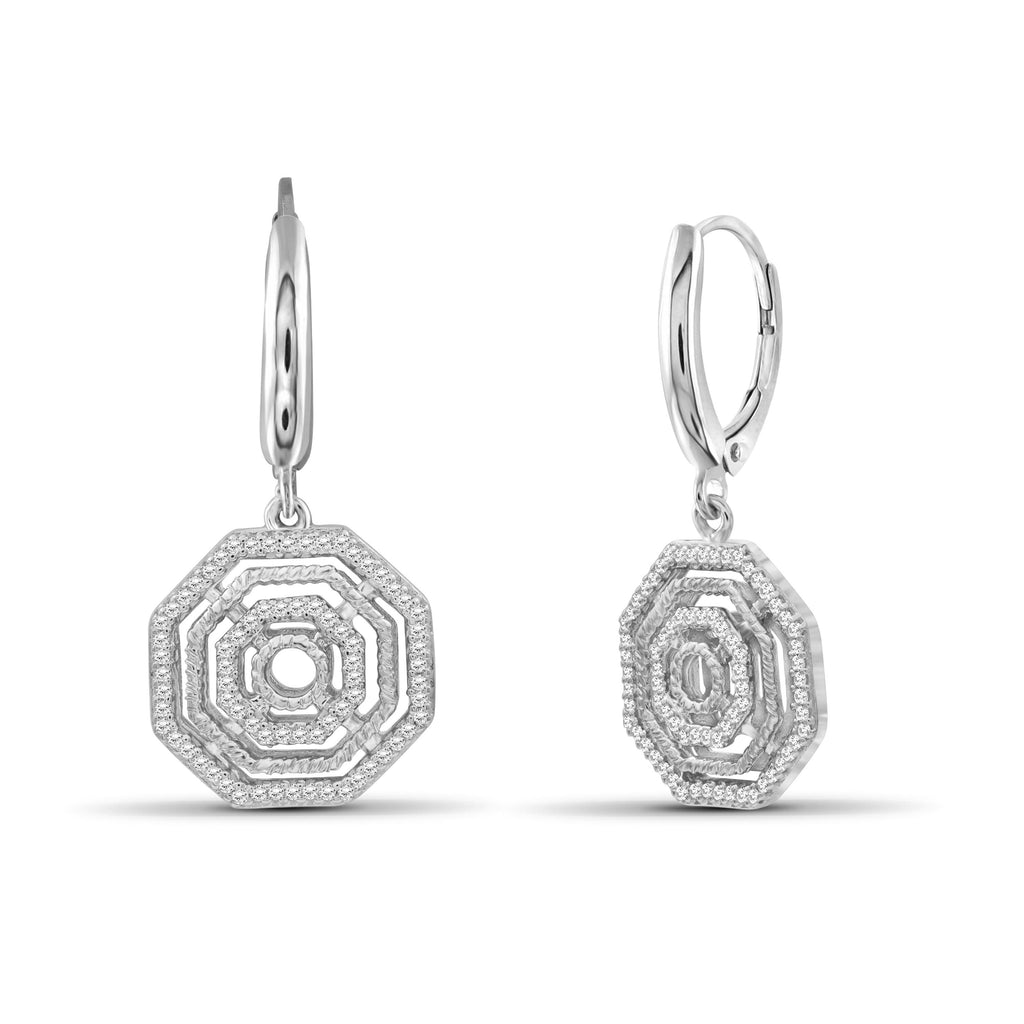 1/3 Carat T.W. White Diamond Sterling Silver Octagon Earrings - Assorted Colors