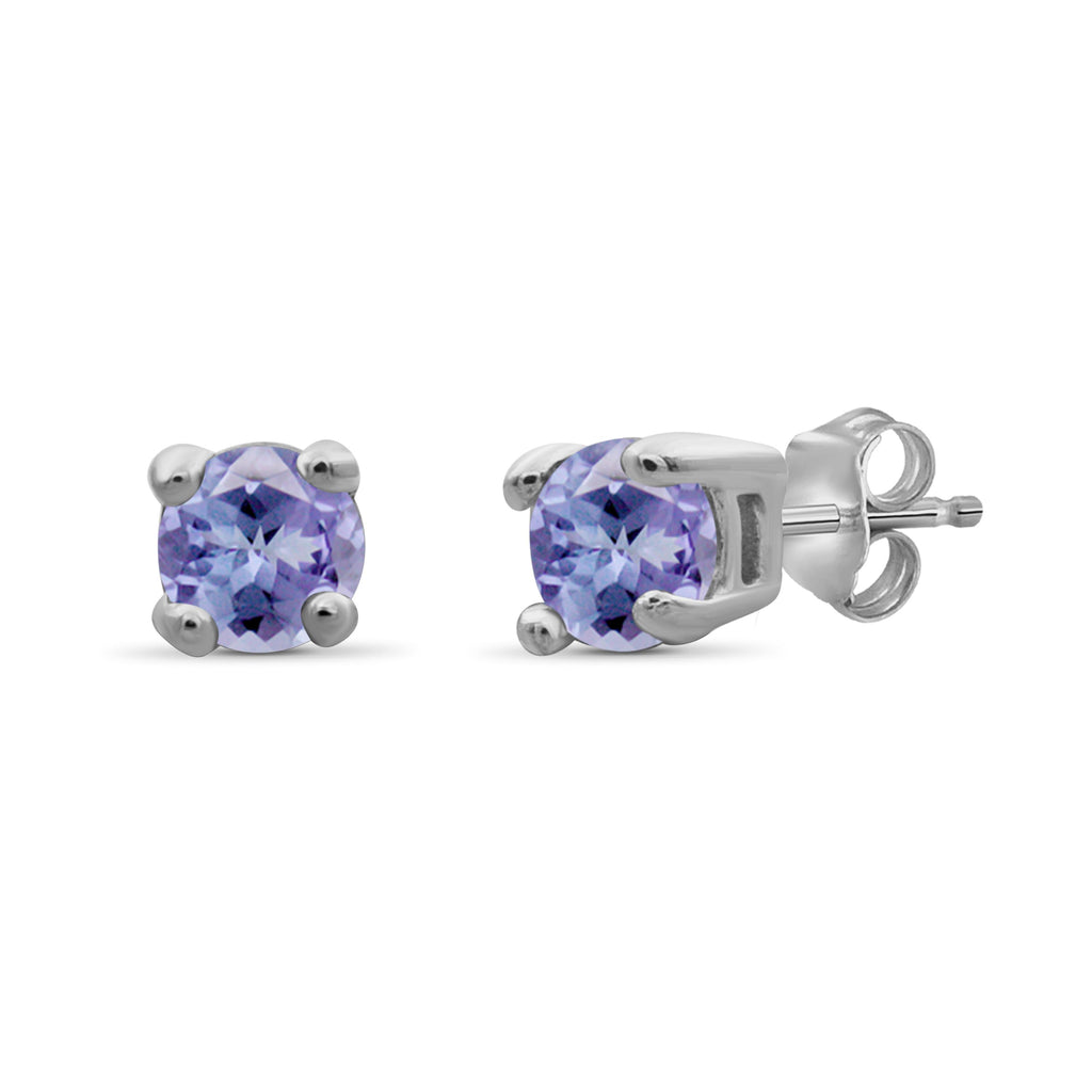 Gemstone Accent Sterling Silver Stud Earrings - Assorted Colors