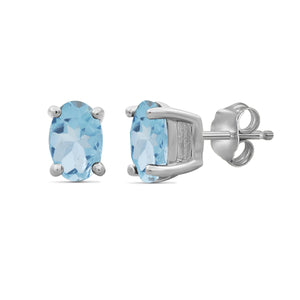 Gemstone Sterling Silver Stud Earrings - Assorted Colors