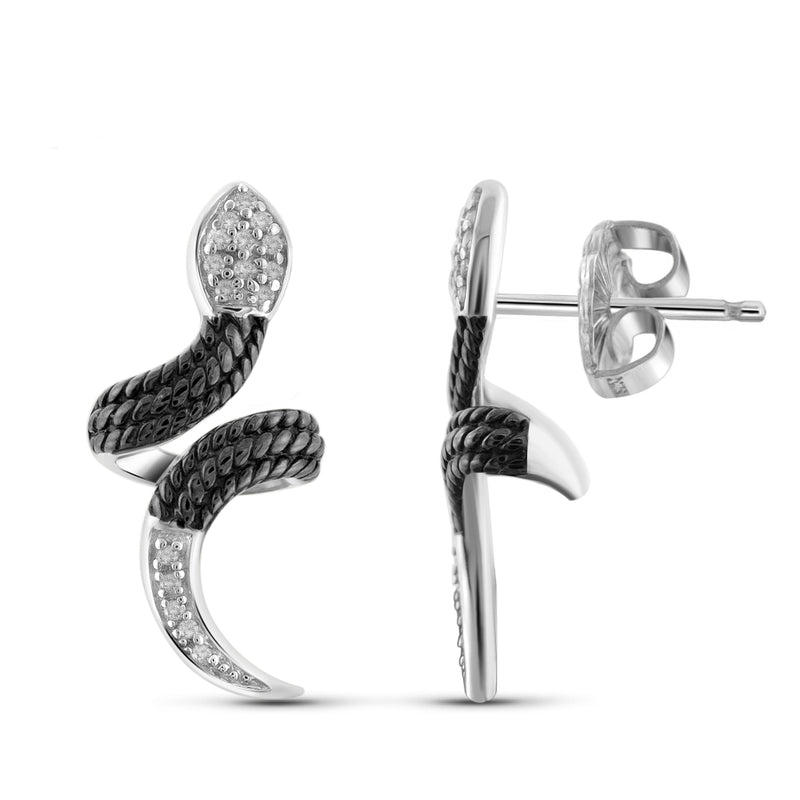1/10 Carat T.W. White Diamond Two-Tone Sterling Silver Snake Earrings