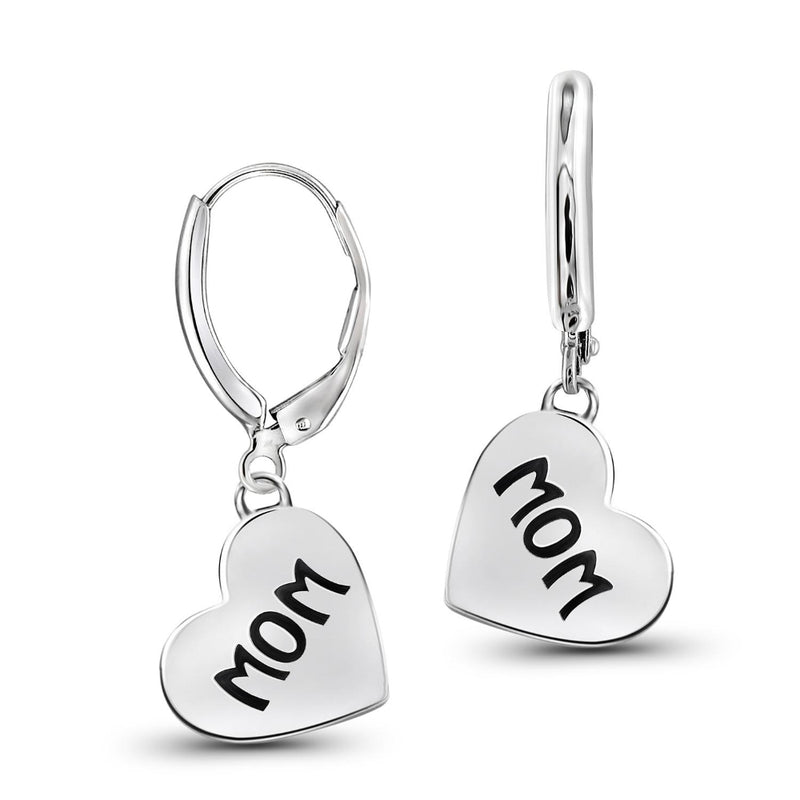 "Engrave""MOM"" My Heart Earrings in Sterling Silver"
