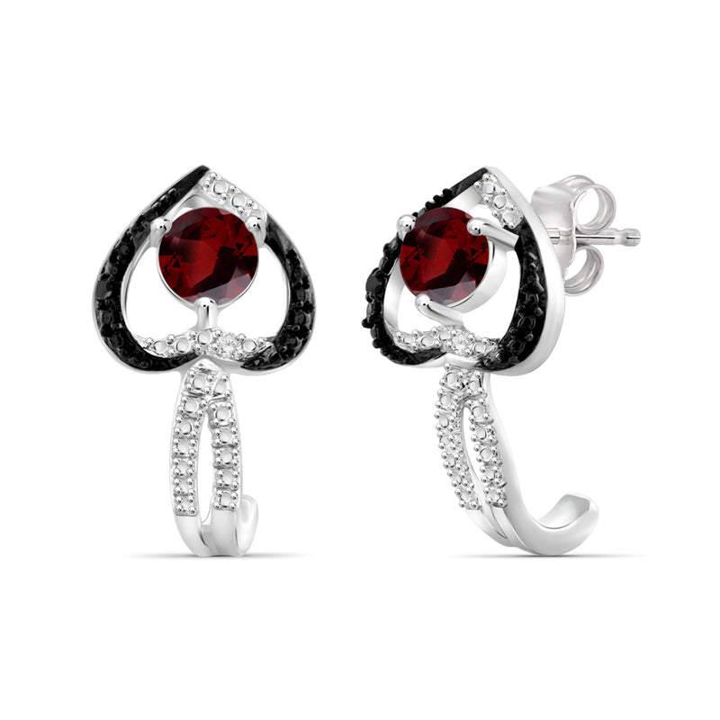 Genuine Gemstone and Accent Black & White Diamonds Heart Earrings Sterling Silver- Assorted Styles