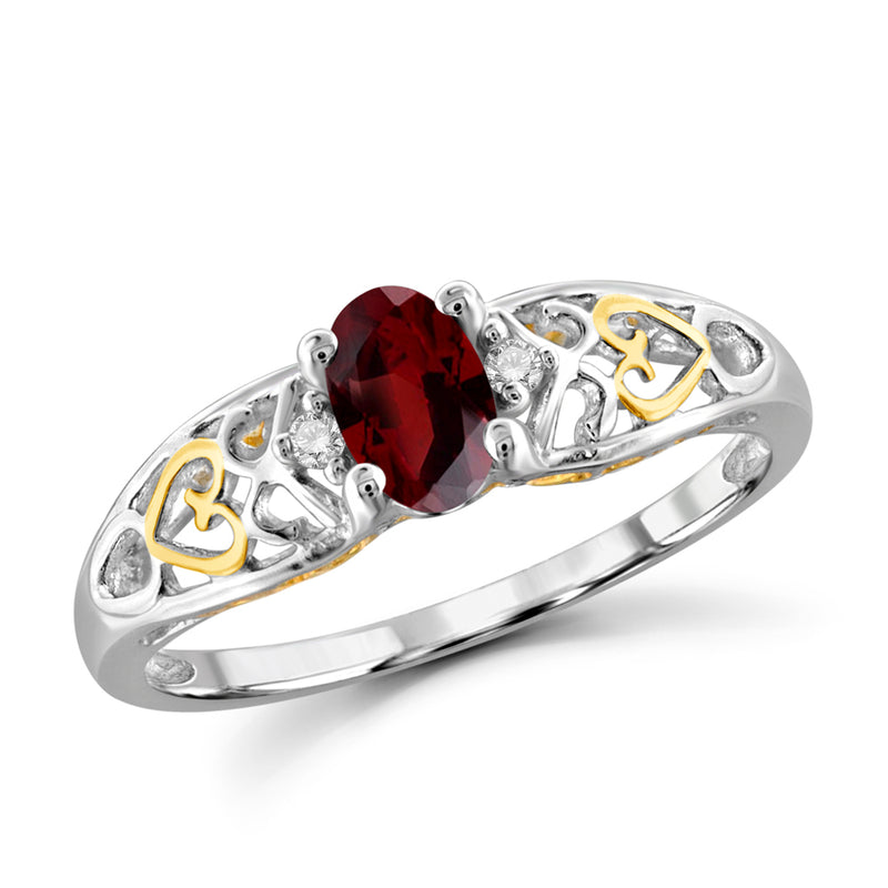 Genuine Gemstone & Diamond Accent Birthstone Ring Sterling Silver - Assorted Styles