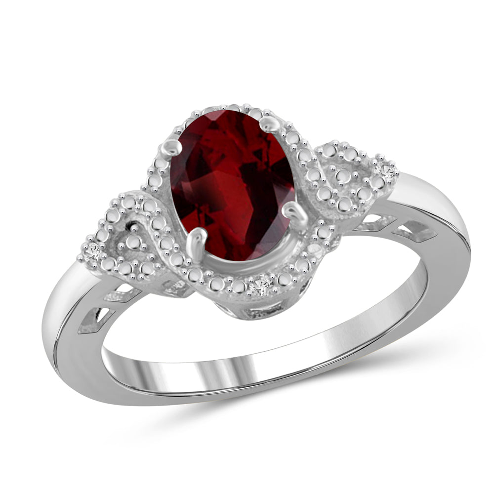 Birthstone & Accent White Diamond Ring Sterling Silver- Assorted Styles