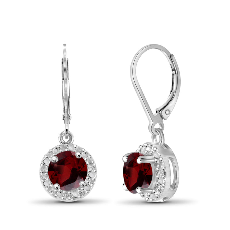 Genuine Birthstone and Diamond Accent Dangle Earrings Sterling Silver-Assorted Styles