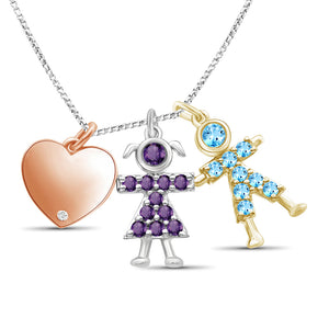 Birthstone Boy and Girl Accent Diamond Heart Pendant Sterling Silver- Assorted Styles