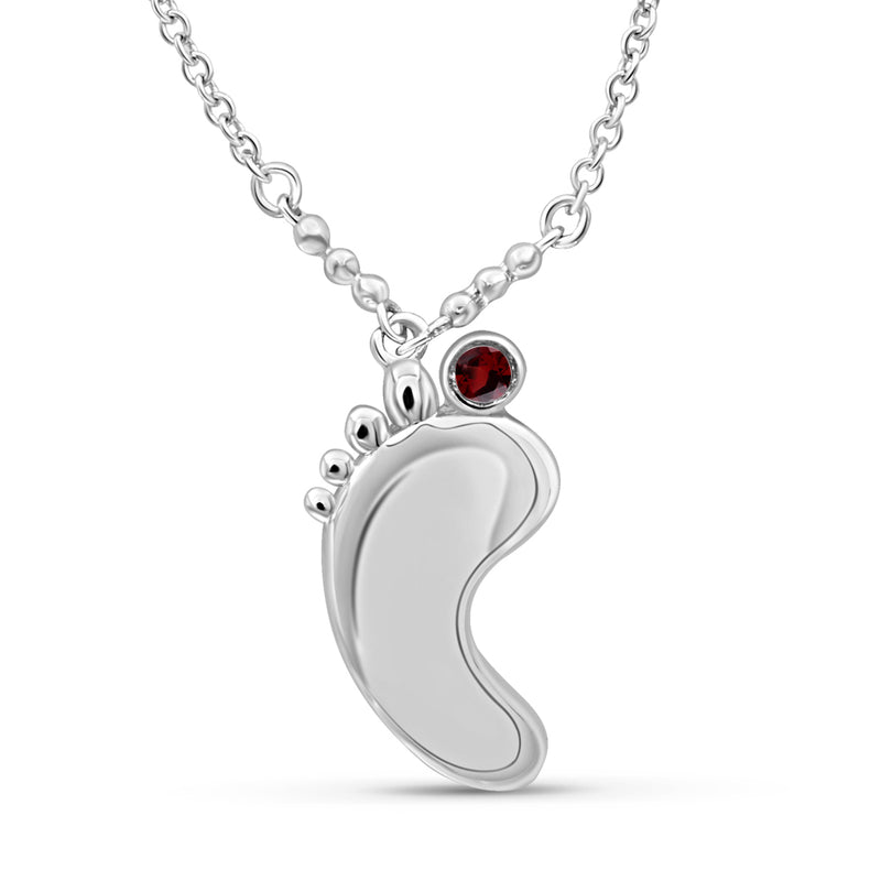 Genuine Birthstone Feet Pendant Sterling Silver-Assorted Styles