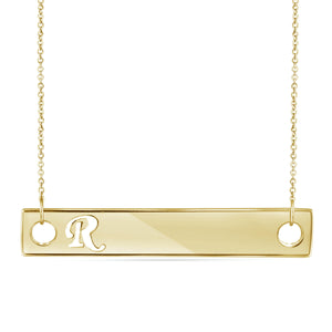 """A to Z"" Initial Cutout Bar Necklace in Sterling Silver - Assorted Styles"