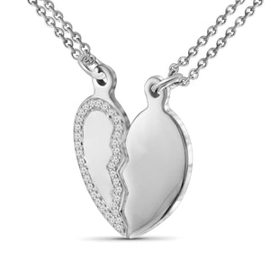1/10 Ctw White Diamond Sterling Silver Heart Pendant - Assorted Colors