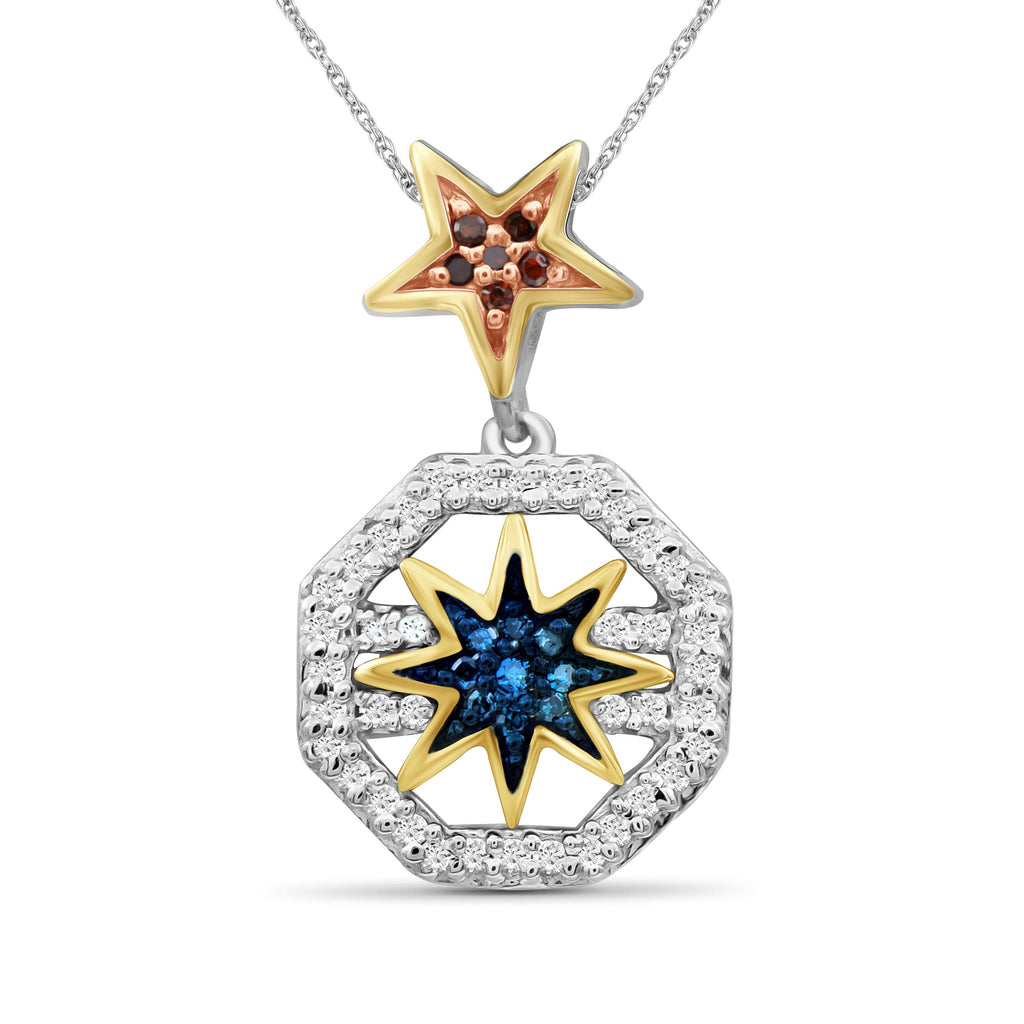 1/5 Carat T.W. Multicolor Diamond Three Tone Silver Star Octagon Pendant
