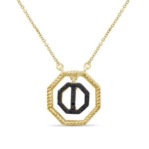 1/10 Carat T.W. Black Diamond 14k Gold Over Silver Octagon Pendant