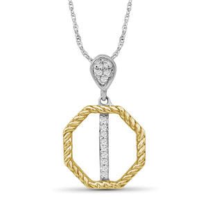 1/20 Carat T.W. White Diamond Two Tone Sterling Silver Octagon Pendant