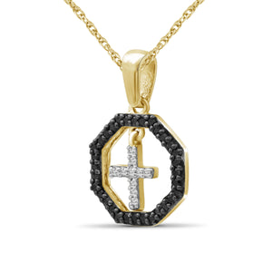 1/7 Carat T.W. Black And White Diamond Sterling Silver Cross Octagon Pendant - Assorted Colors