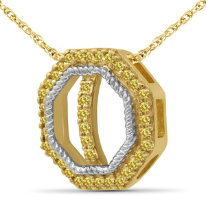 1/7 Carat T.W. Yellow Diamond Two Tone Silver Octagon Pendant