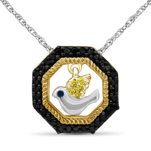 1/10 Carat T.W. Multicolor Diamond Two Tone Silver Flying Bird Octagon Pendant