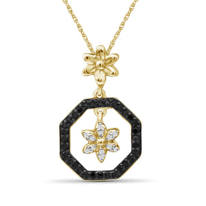 1/7 Carat T.W. Black And White Diamond Sterling Silver Flower Octagon Pendant - Assorted Colors
