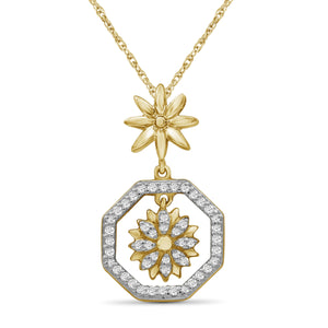 1/7 Carat T.W. White Diamond Sterling Silver Flower Octagon Pendant - Assorted Colors