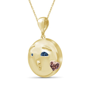 1/20 Ctw Blue And Red Diamond 14k Gold Over Silver Emoji Pendant