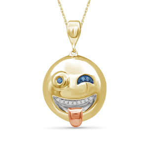 1/20 Ctw Blue And White Diamond Two Tone Sterling Silver Emoji Pendant