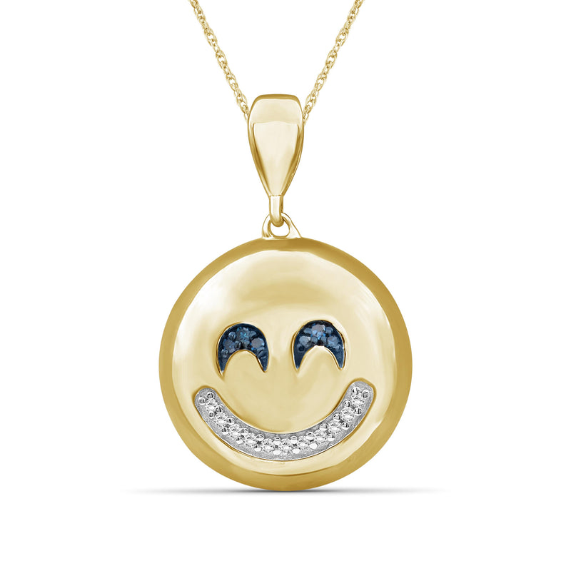 1/20 Ctw Blue And White Diamond 14k Gold Over Silver Emoji Pendant