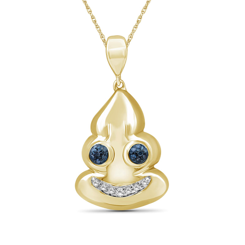 1/10 Ctw Blue And White Diamond 14k Gold Over Silver Emoji Pendant