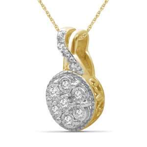 1/10 Ctw White Diamond 14K Gold Over Silver Pendant
