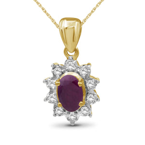 0.65 ctw Genuine Ruby & White Topaz Gemstone 14K Gold Over Silver Pendant