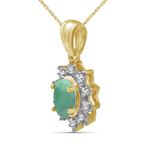 0.55 ctw Genuine Emerald & White Topaz Gemstone 14K Gold Over Silver Pendant