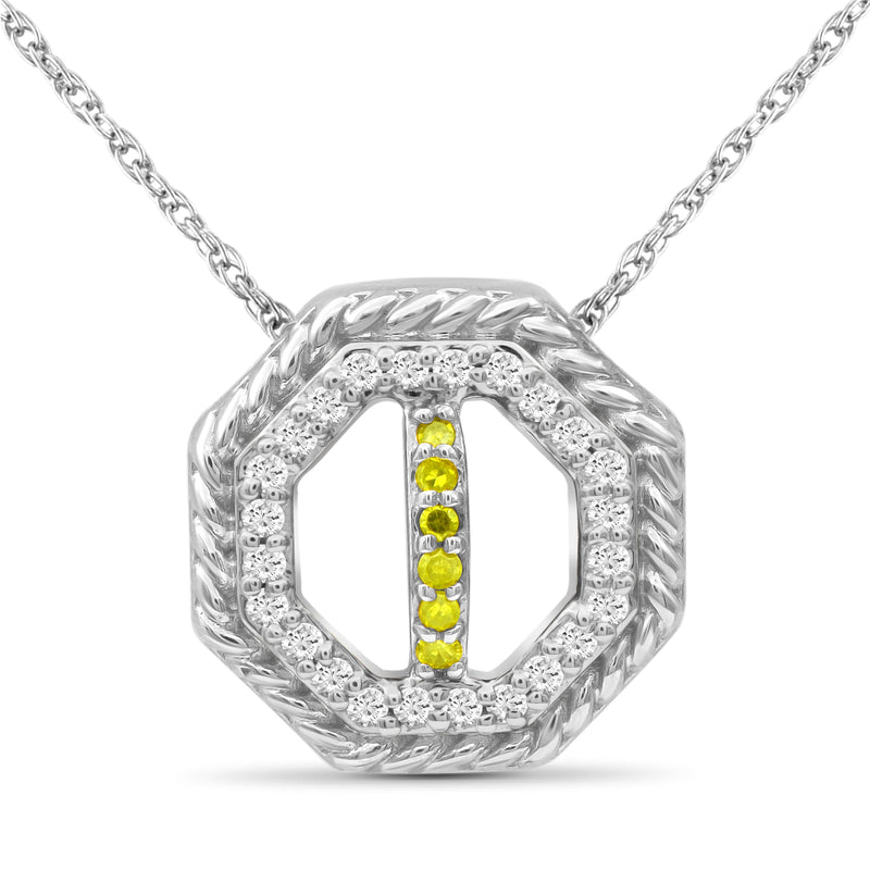 1/7 Carat T.W. Yellow And White Diamond Sterling Silver Octagon Pendant - Assorted Colors