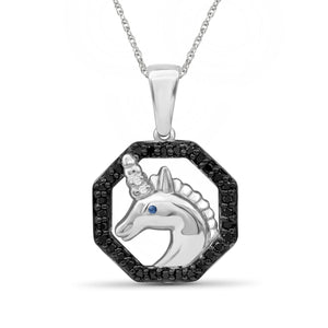 1/7 Carat T.W. Multicolor Diamond Sterling Silver Unicorn Octagon Pendant - Assorted Colors