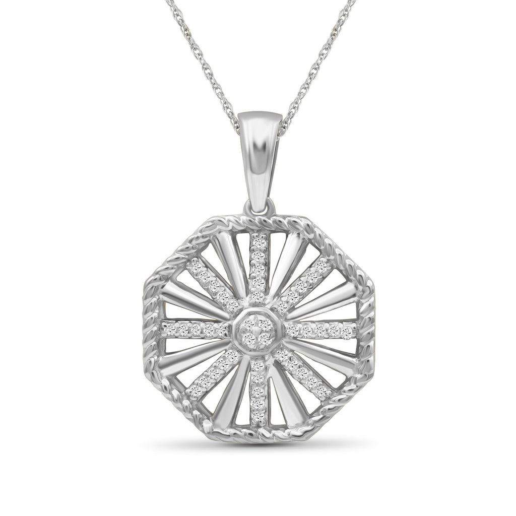 1/7 Carat T.W. White Diamond Sterling Silver Octagon Pendant - Assorted Colors