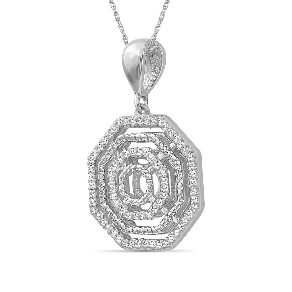 1/5 Carat T.W. White Diamond Sterling Silver Octagon Pendant - Assorted Colors