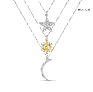 1/10 Ctw White Diamond Two-Tone Sterling Silver Sun, Moon & Star Layer Pendant