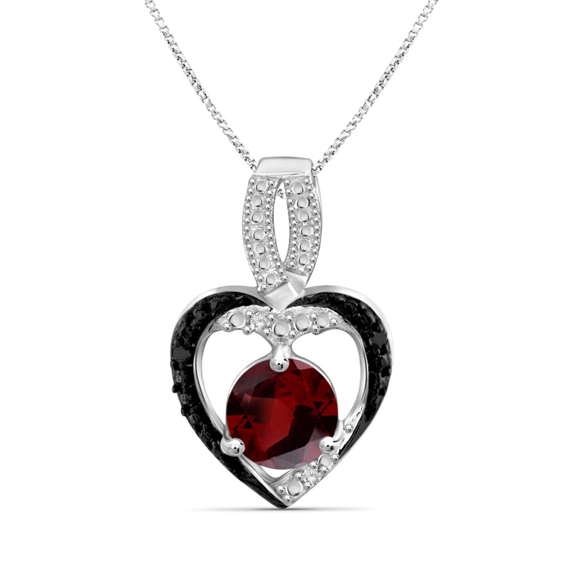Genuine Gemstone and Accent Black & White Diamonds Heart Pendant Sterling Silver- Assorted Styles