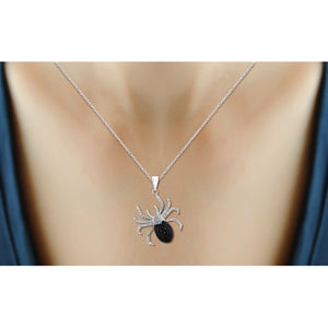 1/20 Ctw Black & White Diamond Sterling Silver Spider Pendant