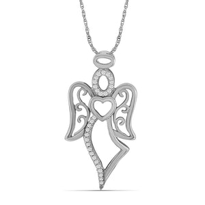 1/5 Ctw White Diamond Angel Pendant in Sterling Silver - Assorted Finish