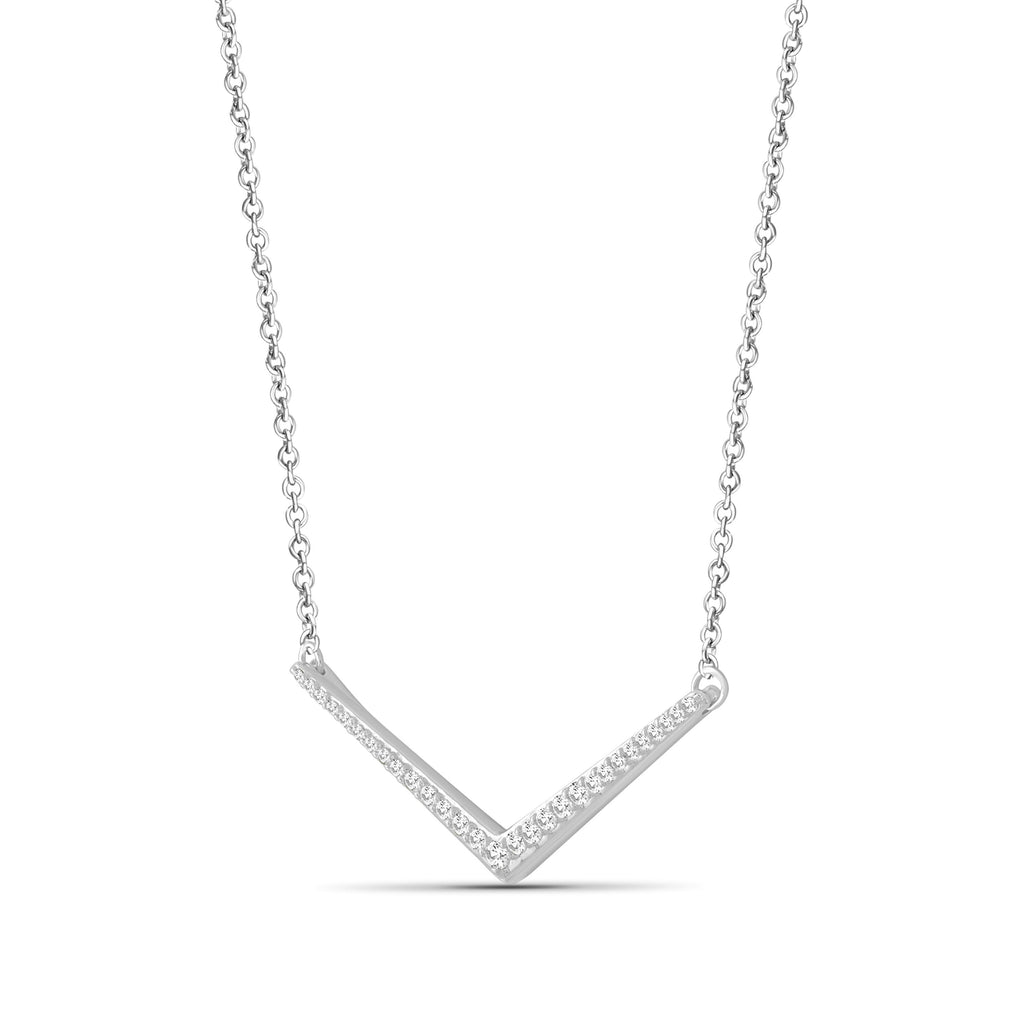 1/4 Ctw White Diamond Sterling Silver V Shape Necklace - Assorted Colors