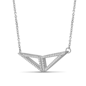 1/5 Ctw White Diamond Triangle Pendant in Sterling Silver - Assorted Colors
