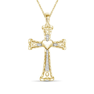 1/4 Ctw White Diamond Heart Cross Pendant in Sterling Silver - Assorted Colors