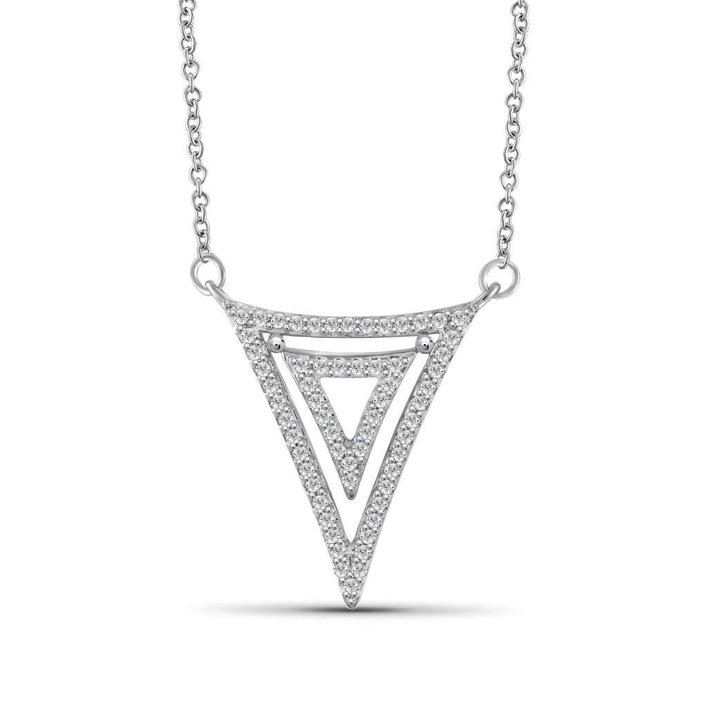 1/5 Ctw White Diamond Sterling Silver Triangle Pendant - Assorted Colors