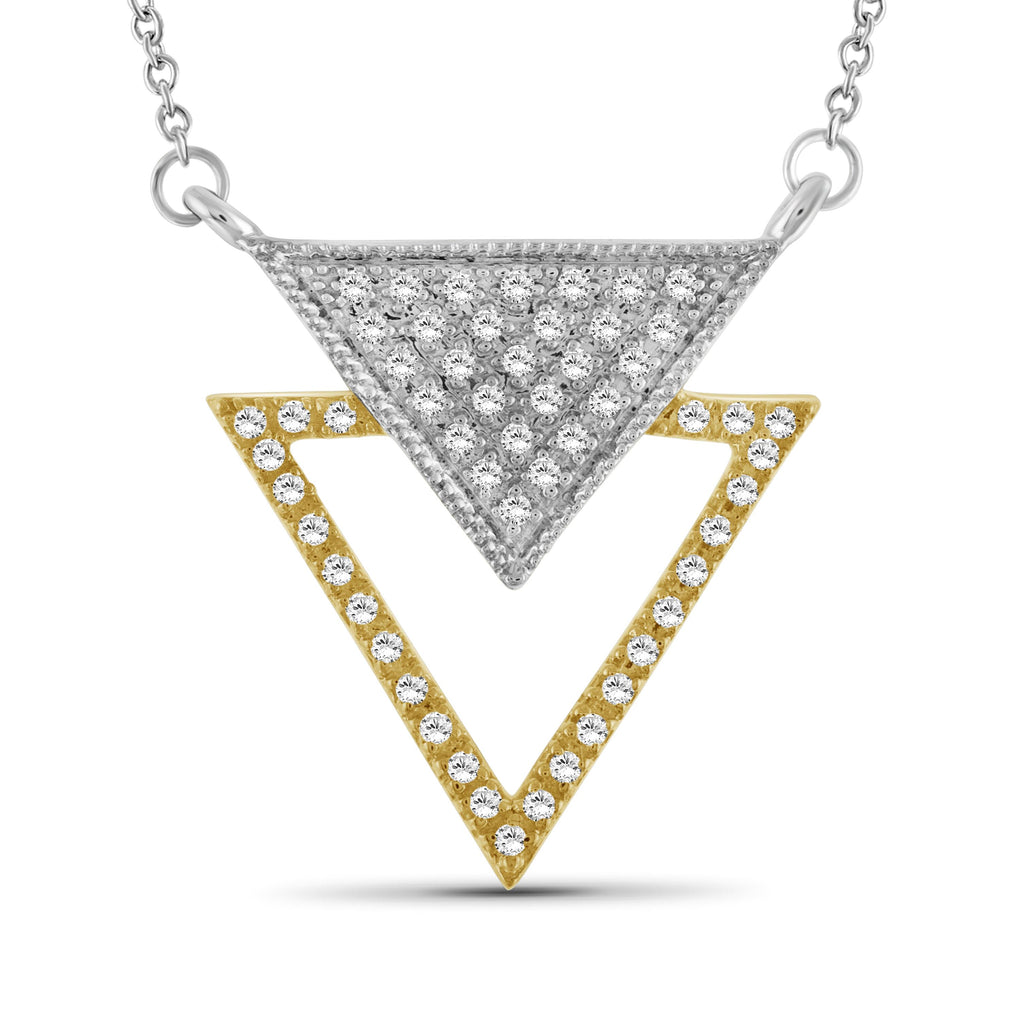 1/4 Ctw White Diamond Two-Tone Sterling Silver Inverted Triangle Pendant