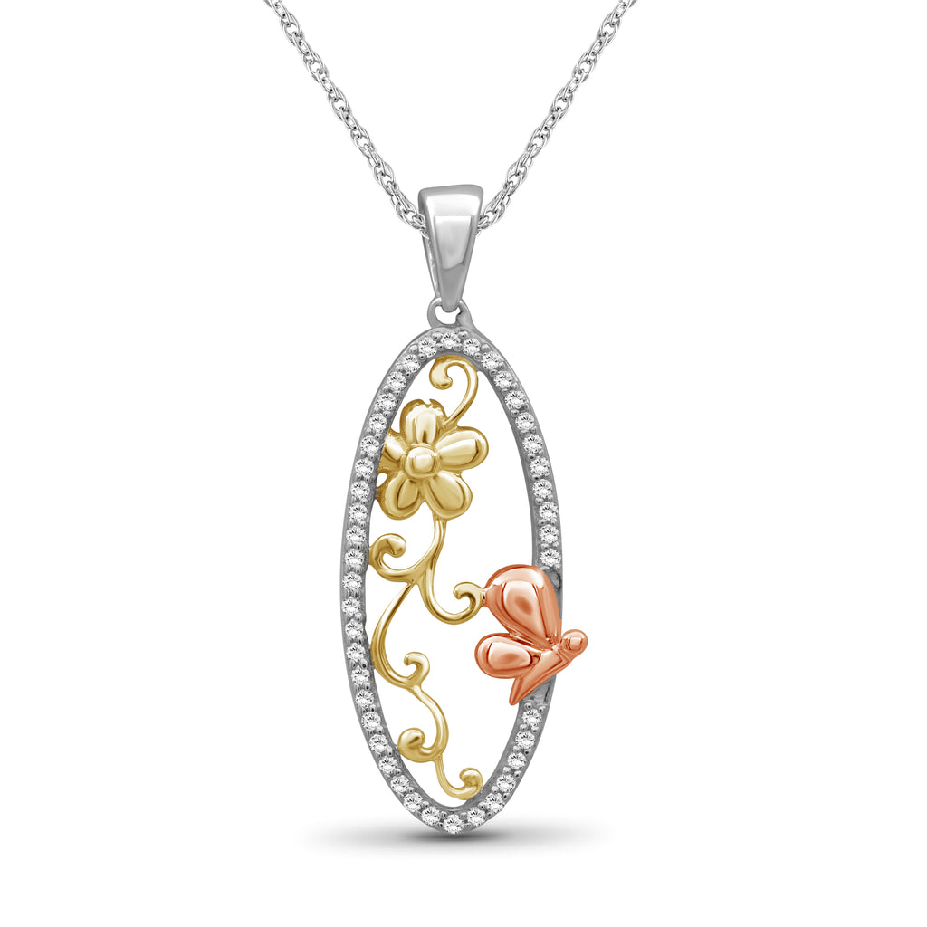 1/5 Ctw White Diamond Tri-Tone Sterling Silver Butterfly Pendant