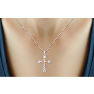 1/2 Ctw White Diamond Diamond Studded Heart Cross Pendant in Two-Tone Sterling Silver