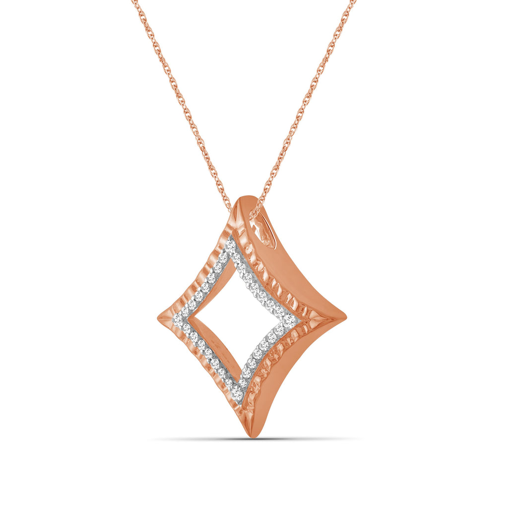 1/4 Ctw White Diamond Rose Gold over Silver Star Pendant