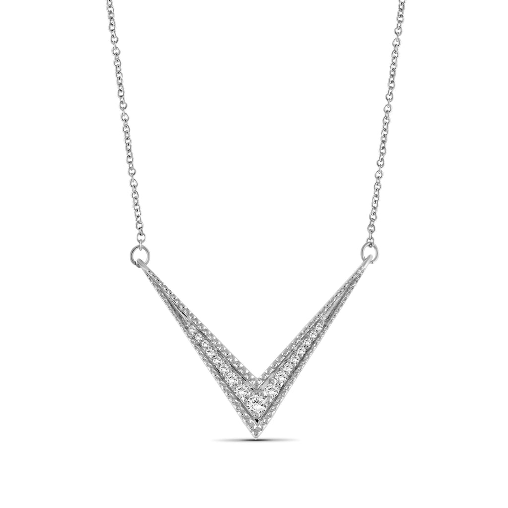 1/5 Ctw White Diamond Sterling Silver V Shape Necklace - Assorted Colors