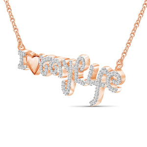 "1/4 Ctw White Diamond Rose Gold over Silver ""I Love My Life"" Pendant"